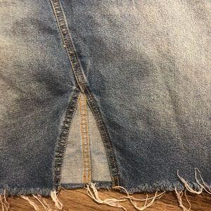 Skirts - Frayed Distressed Blue Denim Jean Skirt
